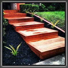 Merbau decking steps for backyard More More - front yard landscaping ideas entryway Garden Stairs, Backyard Garden Landscape, House Landscape, Garden Paths, Laura Lee, Merbau Decking, Wooden Walkways, Wooden Decks, Deck Steps