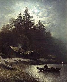 Sophus Jacobsen  (1833-1912)   Fisherman in the Moonlight