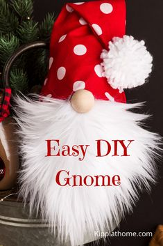How to Make a Christmas Gnome - Kippi at Home - - Easy Sock Gnomes DIY, gnome patterns, decorating your home with Gnomes all year, learn to make a Christmas gnome with a how-to video, Craft some today. Dollar Tree Christmas, Christmas Ornament Crafts, Christmas Gnome, Diy Christmas Gifts, Christmas Projects, Simple Christmas, Holiday Crafts, Christmas Makes, Christmas Fabric