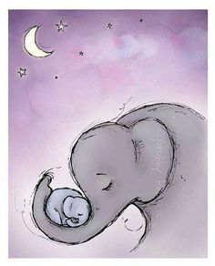 Baby and mother elephant love in the night
