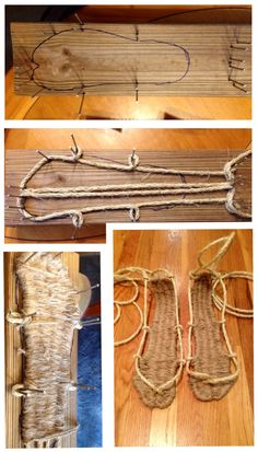 Photo: Uploaded from the Photobucket iPad App. This Photo was uploaded by WildCrimsonSky Diy Leather Sandals, Rope Sandals, Bushcraft Projects, Samurai Armor, Shoe Pattern, Crochet Shoes, Outdoor Survival, Doll Shoes, Diy Arts And Crafts