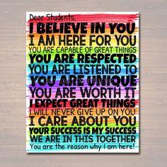 Dear Students Classroom Teacher Poster Sign, School Counselor Digital Art, Schoo… – My CMS Social Work Offices, School Social Work, School Office, School Classroom, Art School, Art Classroom Decor, Art Classroom Posters, Office Art, Classroom Ideas