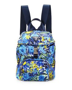 Nylon Small Floral-Print Backpack, Blue by Prada at Bergdorf Goodman.