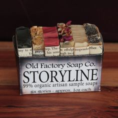 Storyline Organic Soap Sampler from Old Factory Soap Company samples each of their 6 perfume blended essential oil luxury soap bars. Try each one.