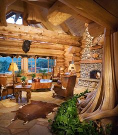 Country log cabin home