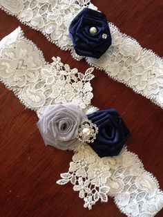 Wedding Garter/Bridal Garter/ Garter/Garter Set/ Blue Garter/ Something Blue/ Grey Garter/ Bridal Accessory/Toss Garter/Lace Garter on Etsy, $28.00