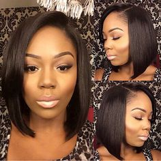 In Stock 10-28inch Bob Straight Brazilian Human Hair Natural Color Full Lace Wig - USD $129.99