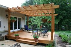 It is popular among people to construct attached pergola with their homes. The attached pergola helps them to extend the living space with the shaded patio area. You can create the outdoor living space and also reach to the swimming pool being prepar Pergola Patio, Deck With Pergola, Pergola Shade, Backyard Patio, Backyard Landscaping, Deck Gazebo, Gazebo Plans, Modern Pergola, Covered Pergola