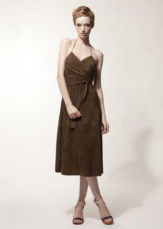http://www.jordanlouisny.com/leather-shop/ Jordan Louis Suede Leather Jagger Dress