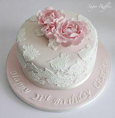 Pink Peonies 21st Birthday Cake
