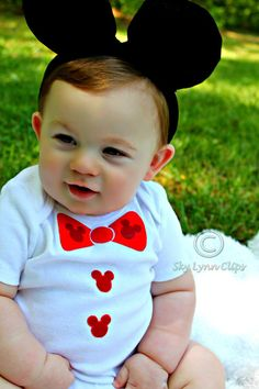 Boys Mickey Mouse Bow Tie Onesie/TShirt by SkyLynnClips on Etsy, $9.00... possible first birthday outfit!