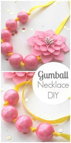 Gumball necklace DIY perfect for a birthday party favor or gift! See more crafts and party ideas at CatchMyParty.com.