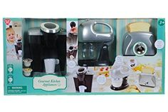 PlayGo Pretend Play Gourmet Kitchen Appliance Set-Single Serve Coffee Maker, Mixer & Toaster $53