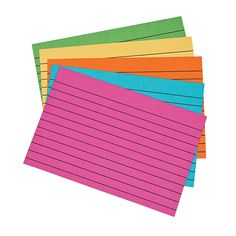 Add these bright-colored index cards to your classroom supplies! They're great for organizing study materials! Each color can be used for a different . Teaching Supplies, Classroom Supplies, Classroom Organization, Teaching Ideas, Organizing, School Suplies, All Schools, Index Cards, Writing Practice