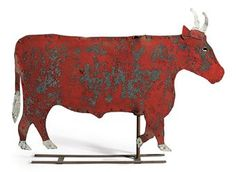 $27,500 A RED-PAINTED CUT-TIN BULL WEATHERVANE   AMERICAN, POSSIBLY CONNECTICUT, 19TH CENTURY   27 in. high, 39 in. long    Provenance  Robert Hallock, Newtown, Connecticut    Pre-Lot Text  PROPERTY FROM THE ESTATE OF ALASTAIR BRADLEY MARTIN, INCLUDING WORKS FROM THE GUENNOL COLLECTION      Provenance  Robert Halloc...