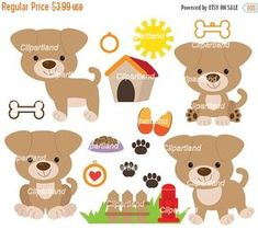 ON SALE INSTANT Download. Cp_6_Puppy. Puppy dog clip art.