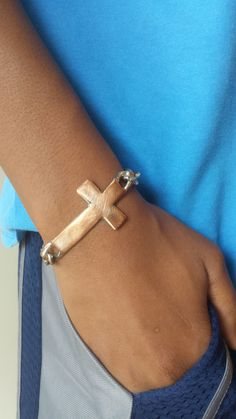 Metal Cross Bracelet, Sideways Cross, Unisex Jewelry, Mens, Painted Metals, Metal Charms, Chain Link, lgbstyles jewelry by LGBStyles on Etsy