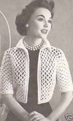 Vintage Crochet Knot Lace Bolero Shortie Jacket Pattern-This would be really cute in a modern color. Vintage Crochet PATTERN to make Knot Lace Bolero Shortie Jacket NOT a finished item This is a pattern andor instructions to make the item only *** You can Pull Crochet, Gilet Crochet, Mode Crochet, Crochet Jacket, Crochet Cardigan, Easy Crochet, Crochet Stitches, Knit Crochet, Bolero Crochet