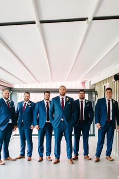 Classic Blue Suits With Burgundy Ties Blue Groomsmen Suits, Groomsmen Fashion, Groom And Groomsmen Style, Be My Groomsman, Groom Style, Blue Suits, Burgundy Tie, Burgundy Wedding, Fall Wedding