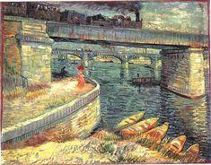 """""""Bridges across the Seine at Asnieres""""  Vincent Van Gogh, water color"""