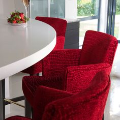 Rosso Red Marble Velvet Bar Stool Chair upholstered in Premium Fabric from Fibre Naturelle Milano Collection http://www.fibrenaturelle.com/fabric-collections/milano