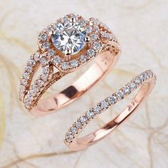 Moissanite Engagement Ring And Bnad - 6.5 mm Round Brilliant Cut Moissanite Wedding Ring Halo Diamond Ring - 14k Rose Gold