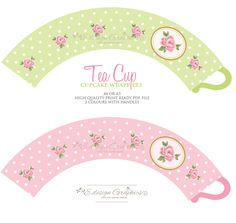 Tea Cup Printable Cupcake Wrappers - Tea Party Polka Dot Rose Design (Option 2) (Choose your colours). $6.50, via Etsy.