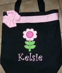 Personalized Cute Flower Tote bag by MyDesertCutie on Etsy, $24.00