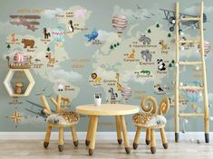 Nursery Wallpaper For Kids World Map Wall Mural Cartoon Animals and Hot Air Balloon Wall Print Children Rooms Boys Girls Bedroom Play Room Kids Room Murals, Murals For Kids, Kids Room Wall Art, Bedroom Murals, Boy Girl Bedroom, Boy Room, Kids Bedroom, Child Room, Room Baby