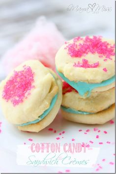 Cotton Candy Sandwich Crèmes #recipe. Sew cute for a #Lalaloopsy #party!