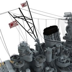 Japanese Battleship Yamato Model available on Turbo Squid, the world's leading provider of digital models for visualization, films, television, and games. Yamato Class Battleship, Model Warships, Musashi, Scale Models, Japanese, History, Digital, Modeling, Cable