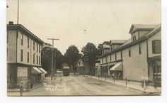 RPPC of Trolley & Stores on Main Street - WHARTON NJ - c.1915