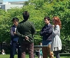 Christian Kane, Noah Wyle, John Kim  and Lindy Booth on the set of The Librarians shooting on location at Oregon State Capital Added by Leenz Mathias Kamandan taken by unknown person