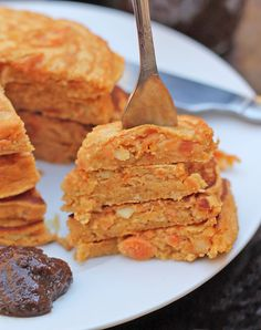 SAVORY SWEET POTATO PANCAKES Made with sweet potatoes and chick pea flour – these are gluten free. And flavored with garlic, onion and cumin – these are definitely not taste free! We had ours with a side of date and tamarind chutney.