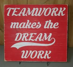 x wooden sign This motivational sign is great for the workplace or classroom. Dark blue background with white lettering and red background with white le Wooden Diy, Wooden Signs, Home Bar Signs, Inka, Dark Blue Background, White Letters, Diy Signs, Teamwork, Blue Backgrounds