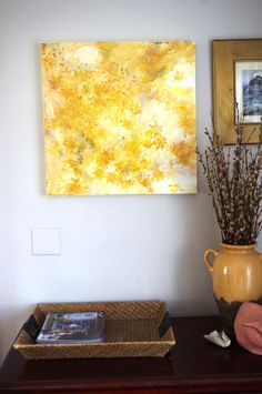 yellow abstract leaf painting by HDJackson on Etsy, $250.00