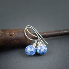 polka dots glass earrings • artisan lampwork jewelry • sterling silver 925 • blue jeans • everyday • casual • summer • silver jewelry