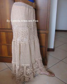 Celeida Artes em Fios: Saia longa em crochê!