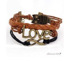Armband  Euly LOVE schwarz  braun  im Organza Beutel