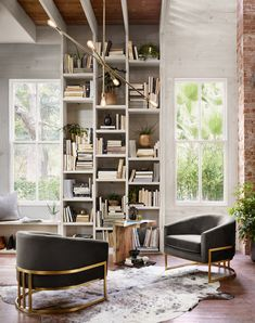 Home Interior Inspiration Get the Look: create a home library in a cozy corner with a couple club chairs, bold lighting and a few accents Design Room, Home Design, Home Office Design, Design Ideas, Office Designs, Library Design, Interior Modern, Home Interior, Modern Furniture