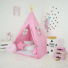 Teepee Set Kids Play Tent Tipi Kid Play Teepee Child Teepee Wigwam Zelt Tente- Sweet Pink by MamaPotrafi on Etsy
