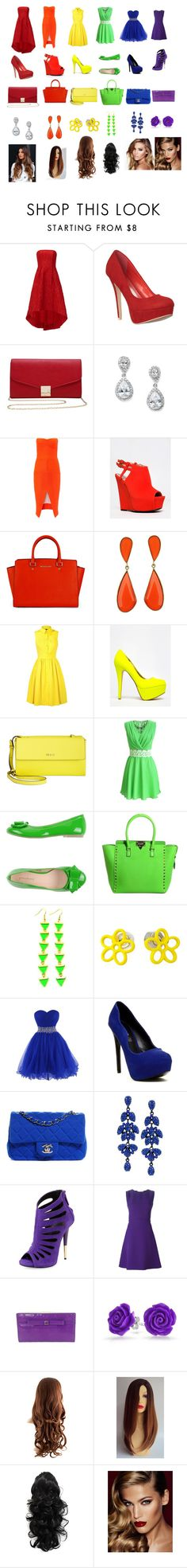 """""""Rainbow"""" by nyelawilson ❤ liked on Polyvore featuring ML Monique Lhuillier, M&Co, Maticevski, Qupid, Karen Millen, Anne Michelle, DKNY, PrimaDonna, Valentino and Marc by Marc Jacobs"""