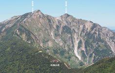 爺ヶ岳山腹から鹿島槍ヶ岳を撮影。北アルプス登山ルートガイド。Japan Alps mountain climbing route guide