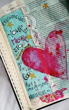 Dueteronomy 9 in journaling Bible with hand lettering and heart with splatters by Sue Carroll Bible Journaling For Beginners, Bible Study Journal, Art Journaling, Scripture Art, Bible Art, Bible Doodling, Bible Love, Illustrated Faith, Creative