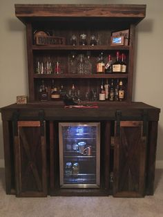 Barn Wood Bar with sliding doors which open to reveal refrigerator by Eddie at Barn Wood Furniture