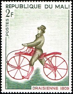Draisienne, 1809,  Dandy horse, Laufmaschine,  Velocipede or Draisine by Pierre Michaux. Mali stamp