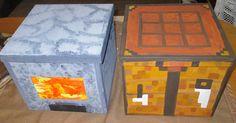 """Hier habe ich Pappkisten für Fotos """"minecraftmässig"""" mit Acrylfarbe bemalt. Die Kisten sind ca. 22x22 cm und haben einen Deckel zum öffnen."""