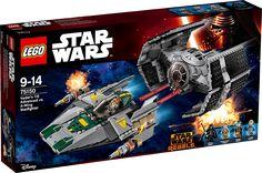 LEGO STAR WARS 75150 Vader's TIE Advanced mod A-wing Starfighter Åbn cockpittet, sæt DarthVader i hans TIEAdvanced, og flyv af sted for at afskære oprørernes A-wing Starfighter vejen. Affyr skyderne med fjederudløser, når du er på skudhold, men pas på, for oprørernes fartøj skyder tilbage med sine egne skydere med fjederudløser! Hvem vil sejre i denne episke duel mellem godt og ondt? Det afgør du...
