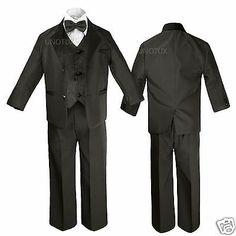 6pc Boy White Vest Set Wedding Graduation Suits with Satin Brown Necktie Sm-20