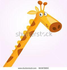 Vector illustration of African savanna giraffe smiling. Design for poster, emblem, logo, print, sticker or icon Zoo Logo, Giraffe Illustration, Cartoon Giraffe, Tigger, Doodles, African, Disney Characters, Rocks, Animals